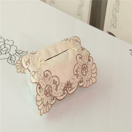Wholesale Luxury Napkins Wholesale - Wholesale- Europe luxury embroidery tissue Box Cover rose flower 010 dustproof Pumping wedding for car table living Room home textile