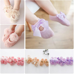 Wholesale Wholesale Lace Booties - Fashion Cute Novelty baby Children boys girls Socks lace flower bow Booties best Room Socks cotton shoes Ankle sock