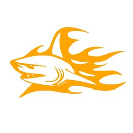 Wholesale Decal Shark - Wholesale 20pcs lot Automobile and Motorcycle with Products Vinyl Decal Car Stickers Glass Stickers Scratches Sticker Sharks Flame