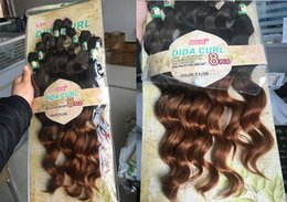 Wholesale Hair Extension Sewing - free shipping Loose Deep Wave Curly Synthetic Hair sew in hair weft 8pcs lot 1pack full head DIDA CURL ombre blond hair extensions body wave
