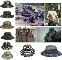 Wholesale Adult Bucket Hats - hot sale Cotton bucket hat for men Fashion Military Camouflage Camo Fisherman Hats With Wide Brim Sun Fishing Bucket Hat Camping Hunting Hat