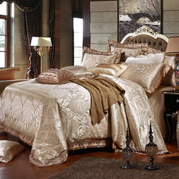 Wholesale Duvet Cover Silk Queen Red - Wholesale- 4 6Pcs Silk Jacquard Golden Beige Double Queen King Bedding set Luxury Boho Wedding Duvet comforter cover Bed linen Pillow sham