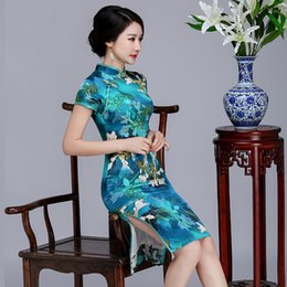 Wholesale Long Sleeved Cheongsam - QQI626 Summer New Cheongsam Blue Long Silk Cheongsam Skirt Short - Sleeved Collar Collar Fashion Chinese Dress