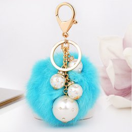 Wholesale Black Rhinestone Bling Purse - Fashion Rabbit Fur Ball Fluffy Round Ball with Bling Bling Pearl Pendants Metal Keychain Keyring Car Keychains Purse Charms Handbag Pendant
