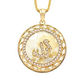 Wholesale Hip Hop Pendant Brand - SAYYID new brand men hip hop rock gold necklace middle eastern country selling round pendant necklace in stock