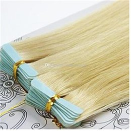 Wholesale Skin Hair Wefts - Light Blonde Straight PU Skin Wefts Tape In Human Hair Extensions PU Tape Hair 40pcs set 18-28 inches