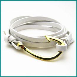 Wholesale Customized Stainless Bracelets - Free Shipping 10pcs  lot hook bracelets customized zinc alloy fish hook bracelet leather wrap anchor bracelet wholesale