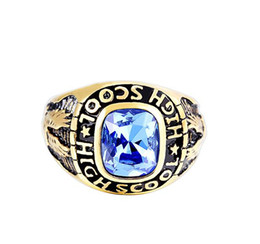 Wholesale High School Rings - Size 8-11 hot selling Gold stainless steel Jewelry High School Ring US Army Rings for Men