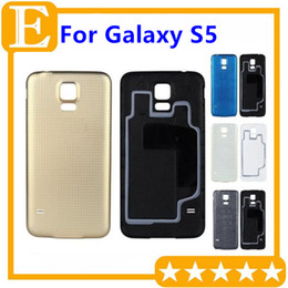 Wholesale Oem Doors - OEM for Samsung Galaxy S5 G900F G900T G900M Rear Back Battery Door Cover Housing With Rubber Mat Waterproof Replacement Parts 30PCS Lot