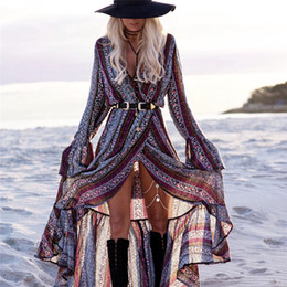 Wholesale Long Sundresses For Women - Wholesale- Bohemian Style Boho Print Split Maxi Dress V-neck Long Sleeve Plus Size Beach Sundress Vestido for Women