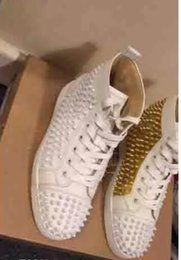 Wholesale High Quality Fabric Stores - Luxury Sign Paris Loubs Red Bottom Sneakers Men's Flat Spikes White Gold Leather Sneakers Shoes High Quality Wholesale Store