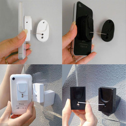 Wholesale Mobile Security Stand - 50pcs mobile phone security stand dummy phone anti theft display holder black white square oval retractable pull wire box for retail