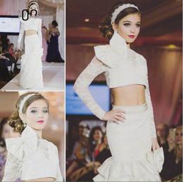 Wholesale Sheath Ivory Flower Girl Dresses - New Coming Beautiful Bow Sheath Ruffles Long Sleeves Lace Ivory Wedding Dresses Flower Girl Dress Show Dresses