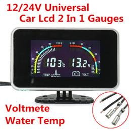 Wholesale Voltmeter 36v - Universal DC 9-36V Ca LCD Digital Display Voltmeter Gauge   Water Temp Temperature