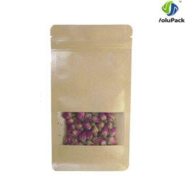 "Wholesale Wholesale Flat Kraft Paper Bags - 10x20+6cm (4x7.75+2.25"") zip lock tea brown kraft paper packing bag Side Gusset Flat Bottom Pouch with clear window"