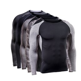 Wholesale Men Exercise Clothes - Brand Men Quick Dry Compression Shirt Long Sleeves Training tshirt Fitness Clothing Print Bodybuilding Gym Athletic Exercise Sport Shirt