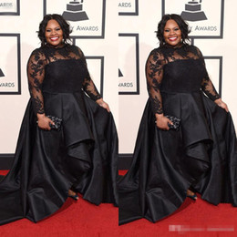 Wholesale Cheap Spring Black Wear - 2016 Grammys Plus Size Formal Dresses Long Sleeves Lace Applique Prom Dress Jewel Neck Sweep Train Spring Black Evening Party Gowns Cheap