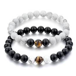 Wholesale Frosted Beads - 2017 New Brand Trendy Frosted stone agate Charm Bracelets Lovers Natural Stone Beads For Women Men Jewelry pulsera hombres