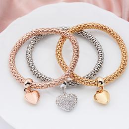 Alliage Stretch Diamant Pendentif Coeur Bracelet Or Argent Or Rose Bracelet ? partir de fabricateur