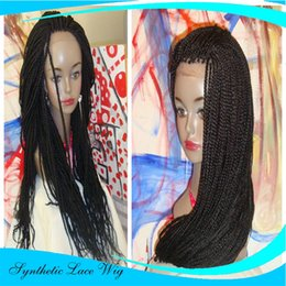 Wholesale Natural Hair Braids - Cheap Synthetic Box Braided Lace Front Wigs Glueless Long braided Lace Wigs with Baby Hair Natural HairLine for Black Women Half Hand Tied