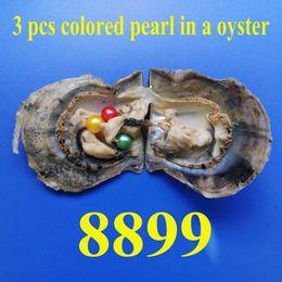 Perlas naturales de lavanda online-3 UNIDS envío gratis Love wish pearl ostra 6.0-7.5mm BLANCO natural surtido PINK LAVENDER redondo perla en ostra con envasado al vacío