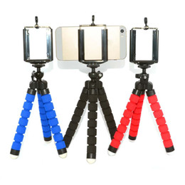 Wholesale phone holder head - Wholesale- Newest Mini Tripod Flexible Octopus Holder Stand Spong Clip Universal For Mobile Phones Camera Black Blue Red