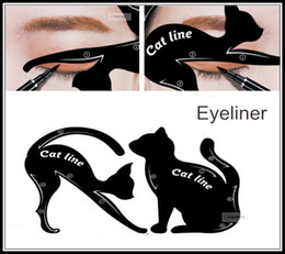 Wholesale Eyebrow Template Tool - eyeliner tool guide Cat Eyeliner Stencil kit for eyebrows guide template Maquiagem eye shadow frames card makeup tools