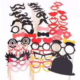 Wholesale Colorful Mustache - Wholesale-Colorful Props On A Stick Mustache Photo Booth Party Fun Wedding Christmas Birthday Favor (50PCS Colorful Props)