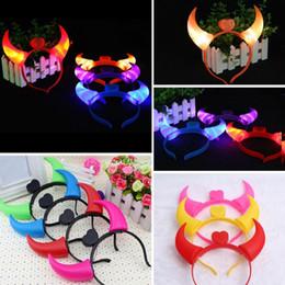 Wholesale Light Up Horn Headbands - Hot Sales LED Light Up Flashing Devil Horns Headband Glowing Devil Horns LED Costume Headband Party Raves Props Free Shipping