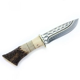 Wholesale Top Quality Knife Damascus - Outdoor Camping Damascus Steel Knife Durable Fixed Blade Knife with Antler and Ox Bone Handle Design Multipurpose Knife Tool Top Quality