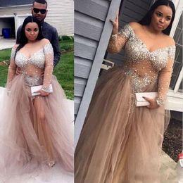 Wholesale Sparkle Bling Beads - Luxury Bling Sparkle Plus Size Evening Dresses Black Girl Prom Dress Sheer Bodice Bead Crystal Formal Party Gowns Vestidos De Festa