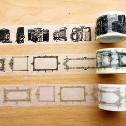 Wholesale Wholesale Vintage Cameras - Wholesale- 2016 Beautiful 30mm*5m high quality washi paper tape vintage camera and black shallow gold frame masking japan washi tape