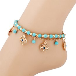 Wholesale Bohemian Anklets For Women - Bohemian Blue Beads Sexy Foot chain Anklets for Women Gold color Chain Barefoot Sandals Foot Jewelry Love Rose Flower Beach Ankle Bracelets