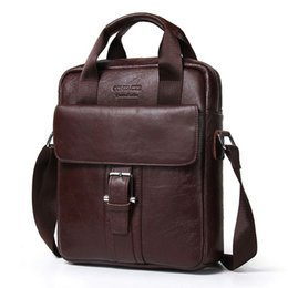 Wholesale Male Leather Briefcase - New Fashion Genuine Leather Man Messenger Bags Cowhide Leather Male Cross Body Bag Casual Men Commercial Briefcase Bag