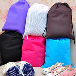Wholesale colour weave - Non woven sack with rope storage bag colours for shoe   clothes dust proof 500pcs lot 40cm x30cm IC892