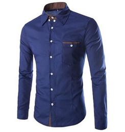 Wholesale Stitching Designs Shirts - Wholesale- camisa masculina fashion urban single men shirt pocket design simple long-sleeved shirt Slim stitching quality free shipping