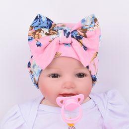 Wholesale Knit Winter Hats Baby - Knit Baby hat Newborn Beanie Big bow 0-3months flowers print hat Maternity Boutique Accessories Winter warm European Autumn wholesale 2016