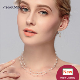 Wholesale Cheap Ear Piercing Earrings - cheap jewelry necklace and earrings pierced ears 2 pcs Bridal jewelry sets Imitation jewellery charms style New fashion jewelry Wholesale se