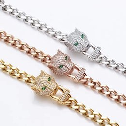 Wholesale Diamond Head Set - Wholesale or drill a leopard head thick bracelet with ms han edition 18 k rose gold with diamonds BaoTou thick bracelet