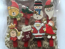 Wholesale Mini Christmas Pegs - Wholesale-8pieces Cute Painted Wood Clip Mini Craft Pegs Cloth Photo Hanging Spring Clips for Christmas Party Decorations Gift and Favor