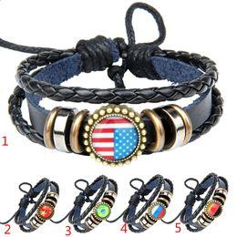 Wholesale Gemstone Vintage Bracelets - Vintage Time Gemstone Bracelets Bangle Jewelry Cabochon Pendant Leather Bracelet Flags Trees Design Bracelet USA Flag UK Flag