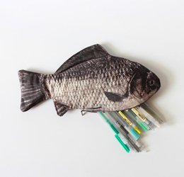 Wholesale Chinese Wholesale Stationery - Wholesale- Chinese Crucian Carp Simulated Fish Pencils Case Canvas School Supplies Bts Stationery Christmas Gift Estuches School PencilBags