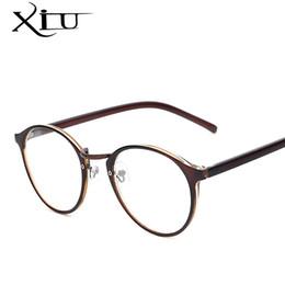 Wholesale Geek Eyeglasses - Hot Sale Round Eyewear Vintage Style Women Eyeglasses Brand Designer Optical Glasses Men Women Fashion Girls Geek Oculos q0413