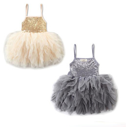 Wholesale Multi Color Baby Yarn - 2017 children princess summer skirt Girl harness sequins dress Multi-layer fold yarn dancing skirt baby bow clothes