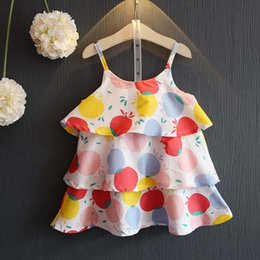 Wholesale England Braces - Dots Summer Dresses Fashion Girls Dresses Beach Dresses baby suspender skirt cute Tiered braces skirt Toddler Dress Girls Clothes A855