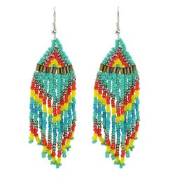 Wholesale Crystal Chandeliers China - Boho Colorful Beads Chain Tassel Chandelier Earrings
