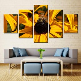 Wholesale Canvas Beautiful Flower Paint - 5 Panels Beautiful Bee on Flower Oil Painting Landscape Painting for Living Room Wall Art Picture Home Decoration Landscape Oil Painting