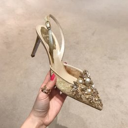 Wholesale Gold Lace Wedding Shoes - wholesale free shipping hot seller Europer diamond heels pearl lace with sexy stilettos sandals wedding shoe 223