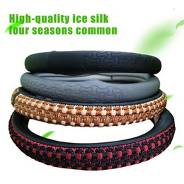 Wholesale Leather Sports Steering Wheels - Comfortable car steering wheel cover Non-slip Design knitting embroidered leather Four optional super soft sports steering