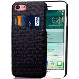 "Comprobar teléfono celular online-Lujo Diamond Check Ranura para tarjeta de patrón Funda móvil para iPhone 6 6s 7 Plus Samsung S7 Edge 4.7 ""-5.5"" Cubierta de piel para teléfono celular Funda de PU"